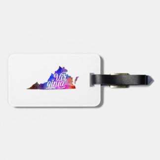 Virginia U.S. State in watercolor text cut out Bag Tag