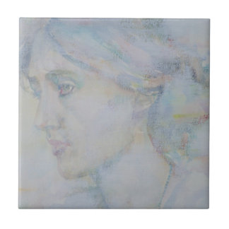 virginia woolf - watercolor portrait.1 tile