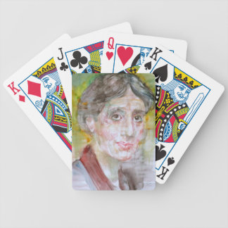 virginia woolf - watercolor portrait.2 bicycle playing cards