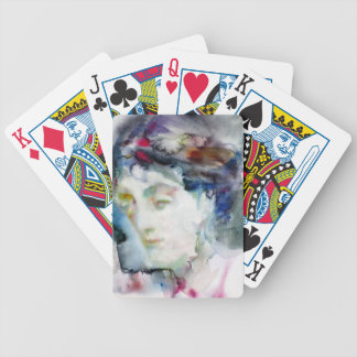 virginia woolf - watercolor portrait.3 bicycle playing cards