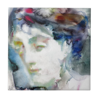 virginia woolf - watercolor portrait.3 tile