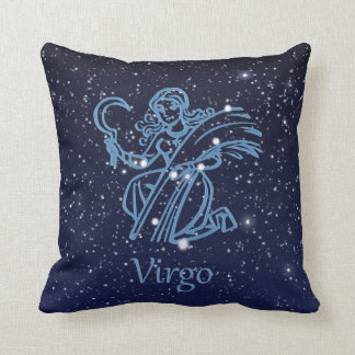 Virgo Constellation and Zodiac Sign with Stars Throw Pillow