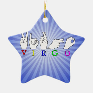 VIRGO FINGERSPELLED ASL NAME ZODIAC SIGN CERAMIC ORNAMENT