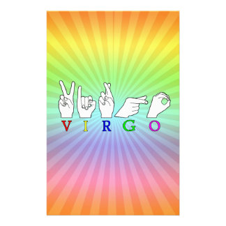 VIRGO FINGERSPELLED ASL NAME ZODIAC SIGN STATIONERY