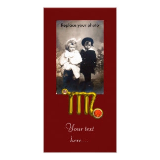 VIRGO / GOLD ORANGE AGATE ZODIAC SIGN JEWEL PHOTO CARD