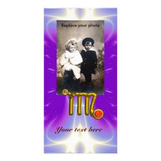 VIRGO / GOLD ORANGE AGATE ZODIAC SIGN JEWEL PHOTO GREETING CARD