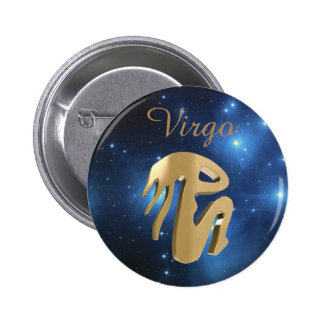 Virgo golden sign 2 inch round button