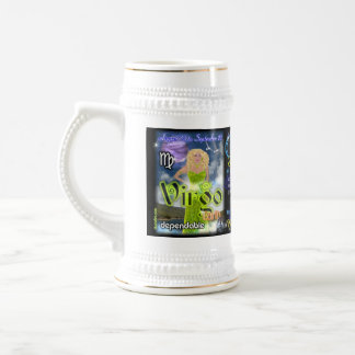 Virgo Libra cusp astrology large silver trim Beer Stein