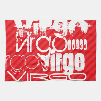 Virgo; Scarlet Red Stripes Kitchen Towel