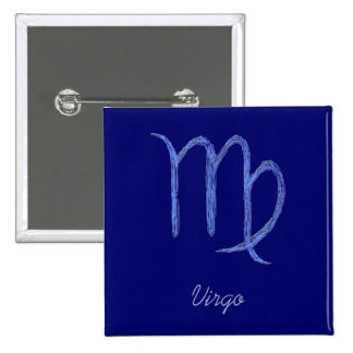 Virgo. Zodiac Astrological Sign. Blue. Pinback Button