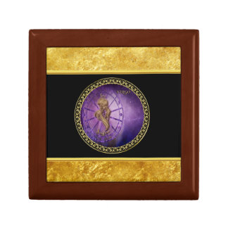 virgo Zodiac Astrology black and gold texture Gift Box