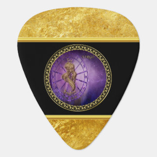 virgo Zodiac Astrology black and gold texture Guitar Pick