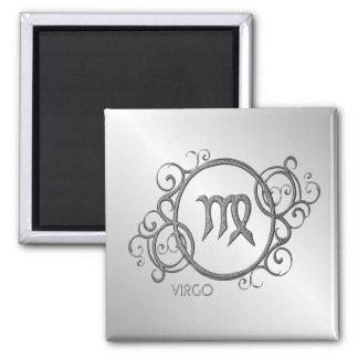 Virgo Zodiac Design Silver Square Magnet