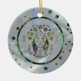 Virgo Zodiac Gold Abalone on Constellation Ceramic Ornament