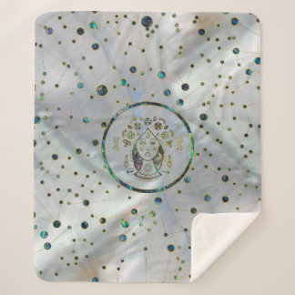 Virgo Zodiac Gold Abalone on Constellation Sherpa Blanket