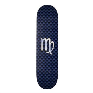 Virgo Zodiac Sign on Navy Blue Carbon Fiber Style Skate Deck