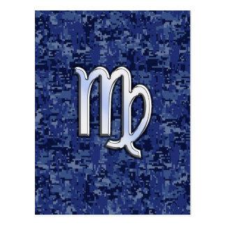 Virgo Zodiac Sign on Navy Blue Digital Camouflage Postcard
