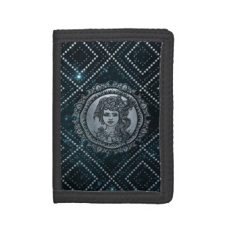 Virgo Zodiac Silver Embossed on the Star sky Trifold Wallet