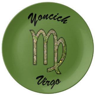 Virgo Zodiac Symbol Element by Kenneth Yoncich Porcelain Plates