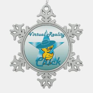 Virtual Reality Chick #7 Snowflake Pewter Christmas Ornament