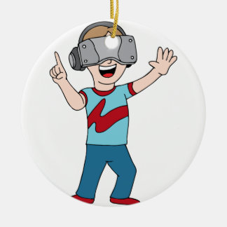 Virtual Reality Video Gamer Ceramic Ornament