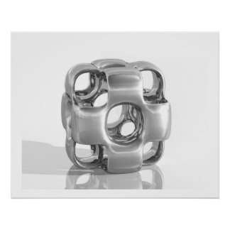 Virtual Sculpture InCubed Polished Aluminium Poster