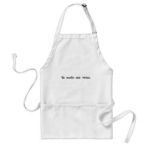 Virtue stands in the middle. aprons