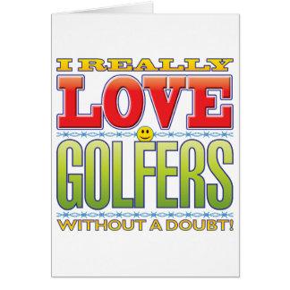 Visage d'amour de golfeurs cartes de vœux