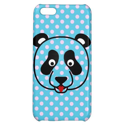 Visage de panda de Polkadot Coque Pour iPhone 5C