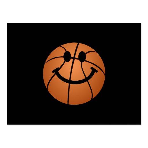 Visage de smiley de basket-ball carte postale
