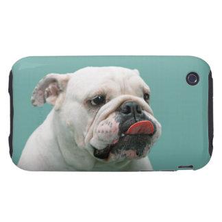 Visage drôle de bouledogue avec la langue collant, coque iPhone 3 tough