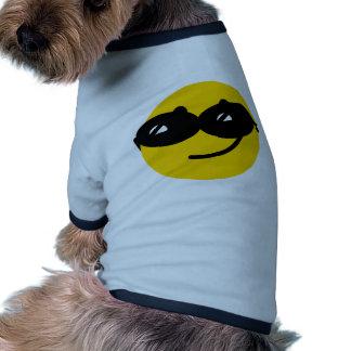 Visage Flirty de smiley de lunettes de soleil Tee-shirts Pour Animaux Domestiques