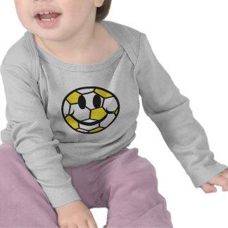 visage jaune de smiley de ballon de football t-shirt
