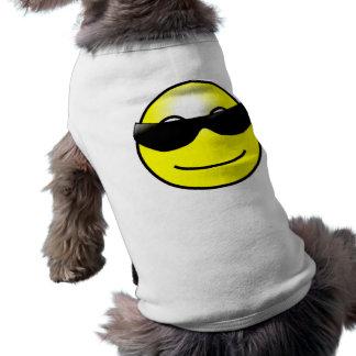 Visage souriant jaune de lunettes de soleil fraîch manteau pour toutous