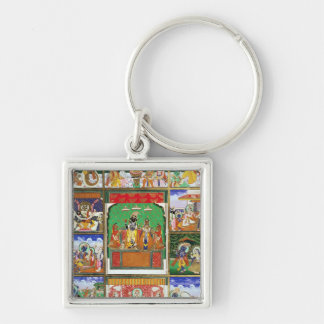 Vishnu in the centre of his ten avatars, Jaipur, R Silver-Colored Square Keychain