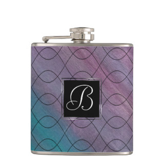 Visionary Bar | Monogram Pink Purple Teal Blue | Hip Flask