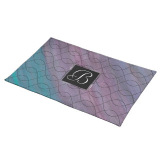 Visionary Table | Monogram Pink Purple Teal Blue | Placemat