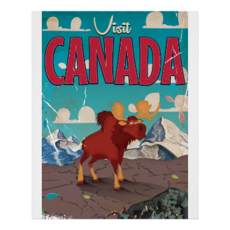 Visit Canada Cartoon travel poster