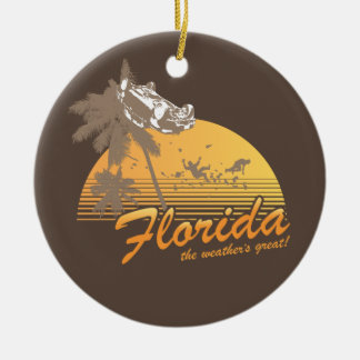 Visit Florida, the Weather's Great - hurricane Christmas Tree Ornament