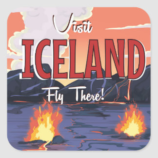 Visit Iceland vintage travel poster Square Sticker