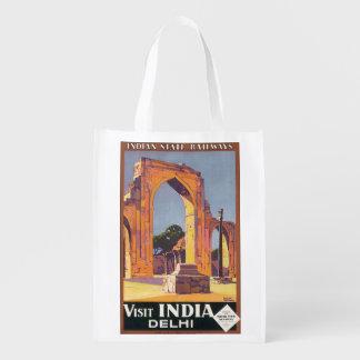 Visit India Delhi Vintage Travel Poster Market Tote