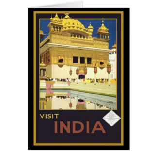 Visit India Vintage Travel Art Card