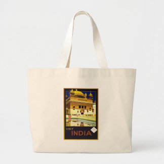 Visit India Vintage Travel Poster Art Large Tote Bag