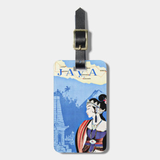 Visit Java Indonesia From Singapore Vintage Luggage Tag