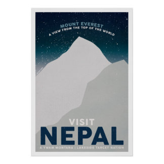 Visit Nepal Mount Everest Vintage Travel Poster