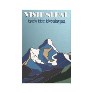 Visit Nepal vintage travel poster canvas