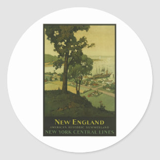 Visit New England Vintage Poster Classic Round Sticker