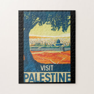 Visit Palestine Vintage Travel Poster Jigsaw Puzzle