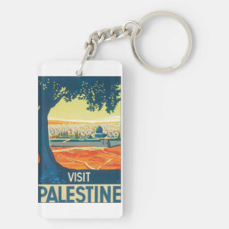 Visit Palestine Vintage Travel Poster Keychain
