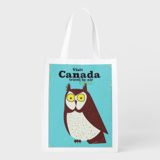 Visit the Canada Owl poster Reusable Grocery Bag